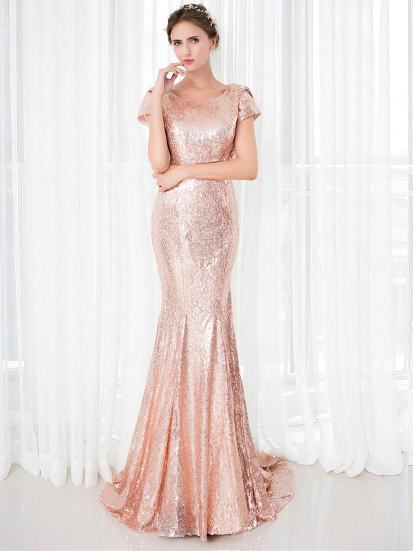Trumpet/Mermaid Scoop Neck Sequined Prom Dresses #Favs020106177