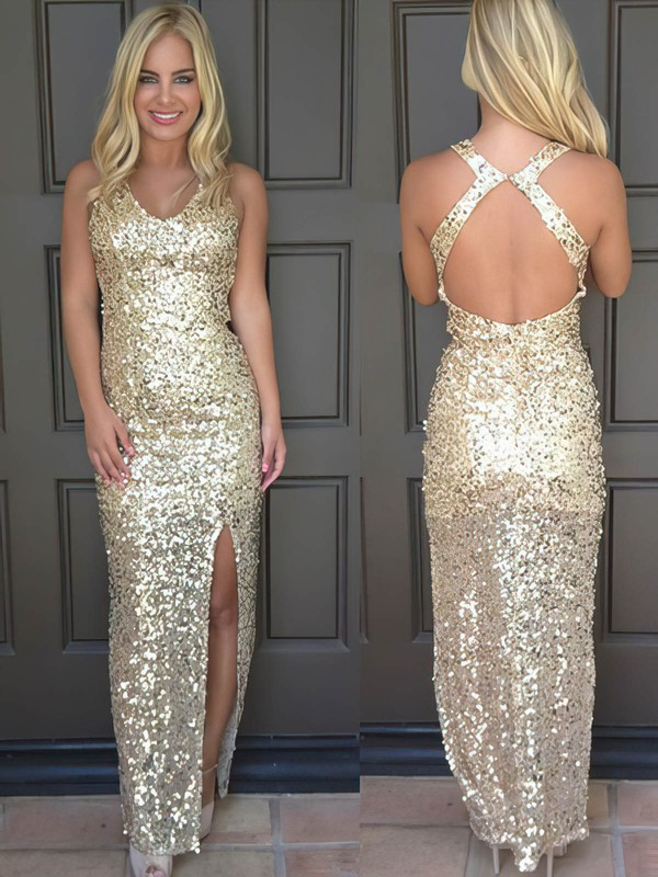 Sheath/Column V-neck Sequined with Split Front Prom Dresses #Favs020106179