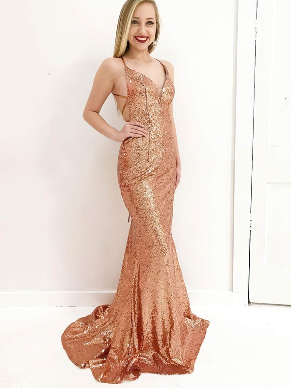 Trumpet/Mermaid V-neck Sequined Sweep Train Prom Dresses #Favs020106182