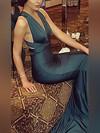 Trumpet/Mermaid V-neck Silk-like Satin Sweep Train Prom Dresses #Favs020104485