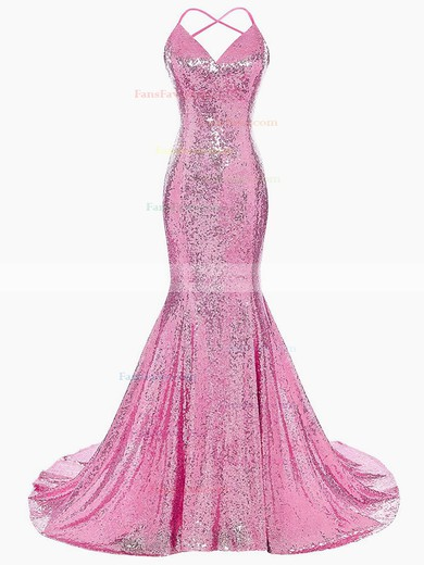 Trumpet/Mermaid V-neck Sequined Prom Dresses #Favs020106183