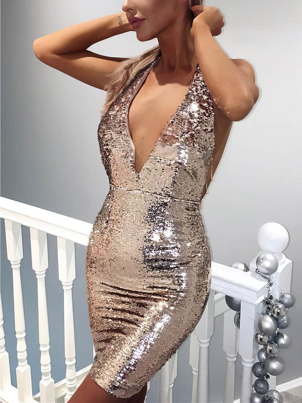 Sheath/Column V-neck Sequined with Beading Prom Dresses #Favs020106185