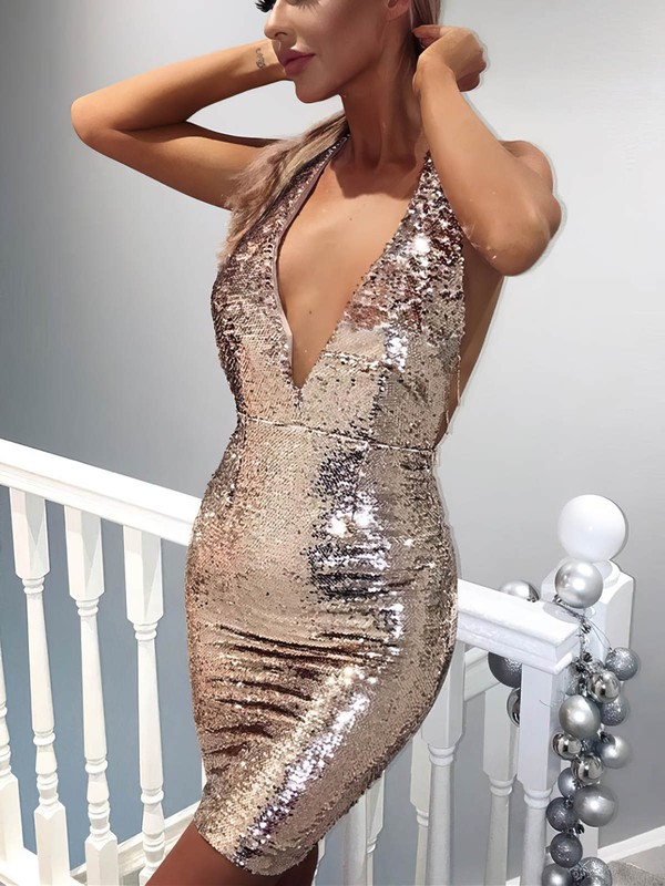 Sheath/Column V-neck Sequined Short/Mini Prom Dresses #Favs020106185