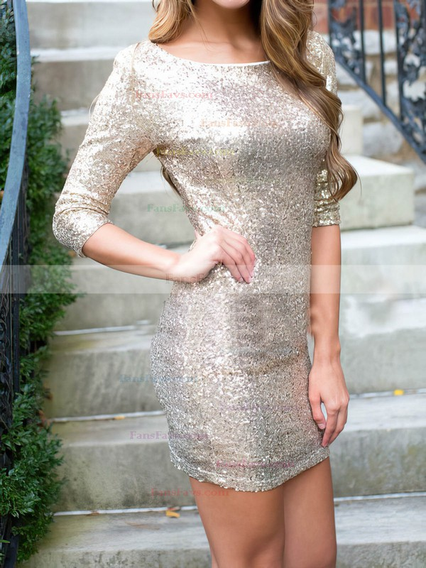 Sheath/Column Scoop Neck Sequined Prom Dresses #Favs020106188