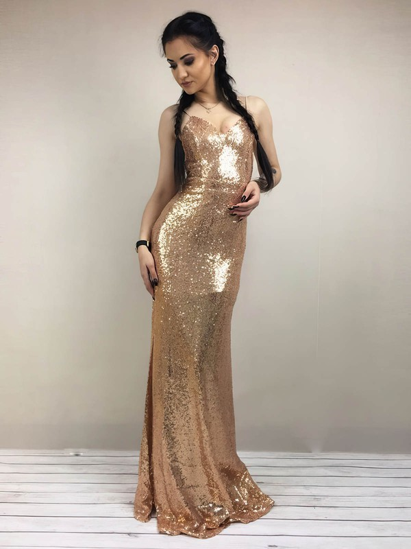 Sheath/Column V-neck Sequined Floor-length Prom Dresses #Favs020106189
