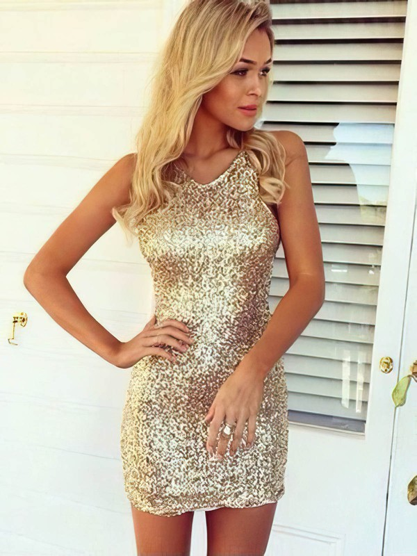 Sheath/Column Halter Sequined Prom Dresses #Favs020106190