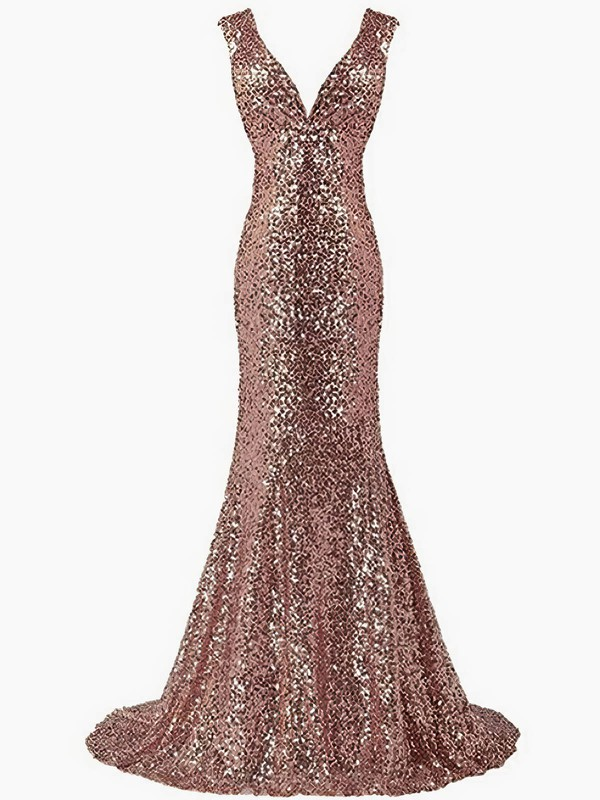 Trumpet/Mermaid V-neck Sequined Sweep Train Prom Dresses #Favs020106192