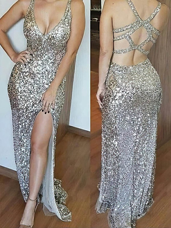 Sheath/Column V-neck Sequined with Split Front Prom Dresses #Favs020106193
