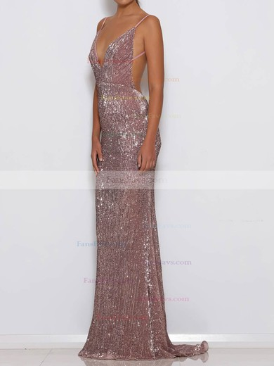 Sheath/Column V-neck Sequined Sweep Train Prom Dresses #Favs020106194