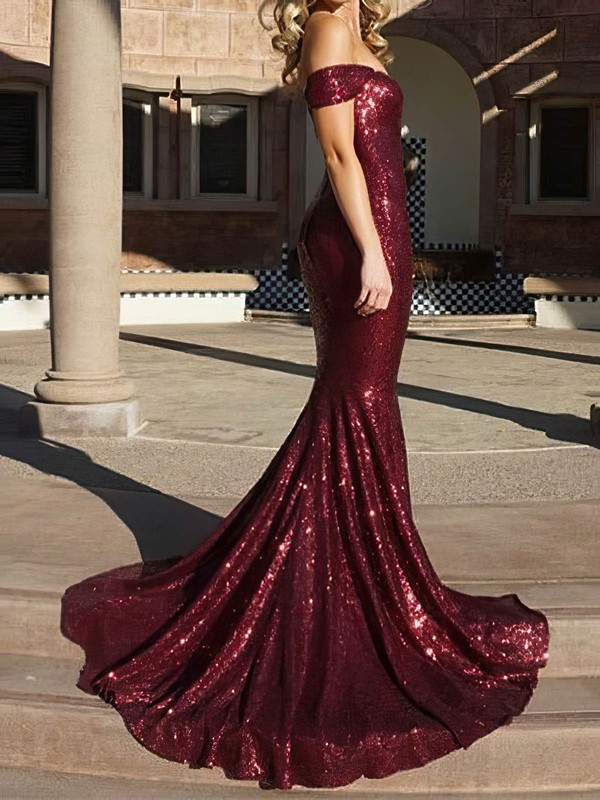 Trumpet/Mermaid Off-the-shoulder Sequined Prom Dresses #Favs020106195