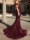 Trumpet/Mermaid Off-the-shoulder Sequined Sweep Train Prom Dresses #Favs020106195