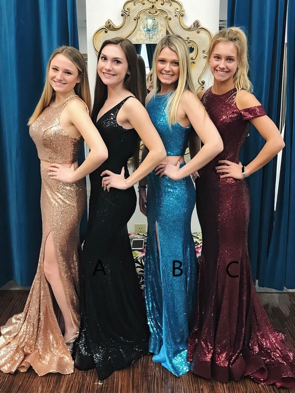 Trumpet/Mermaid Scoop Neck Sequined with Split Front Prom Dresses #Favs020106198