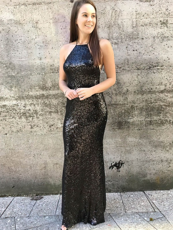 Sheath/Column Scoop Neck Sequined Floor-length Prom Dresses #Favs020106199