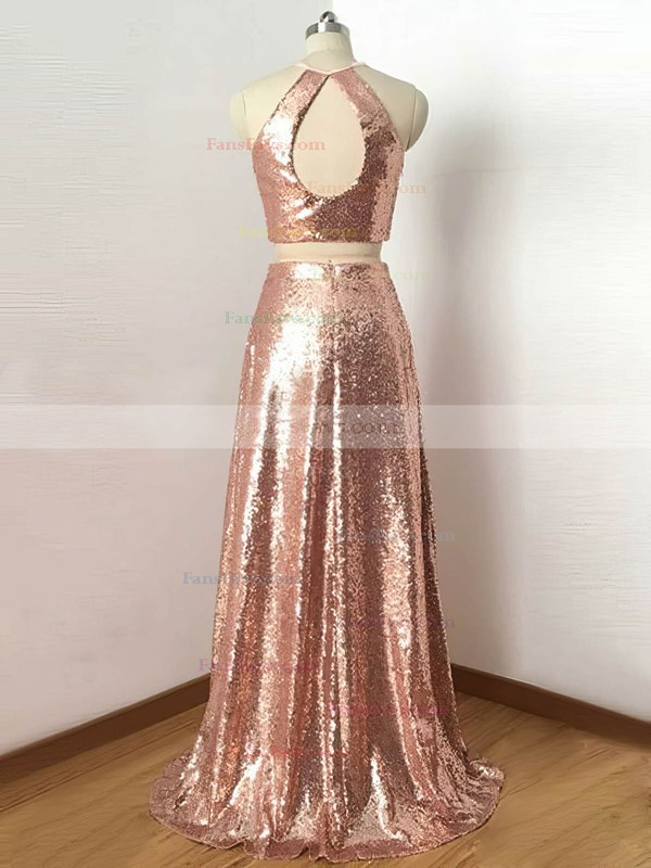 A-line Scoop Neck Sequined Floor-length Prom Dresses #Favs020106200