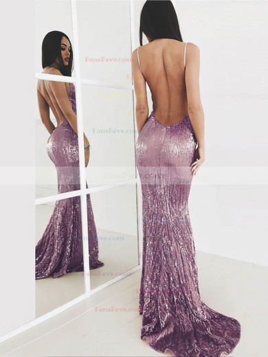 Trumpet/Mermaid V-neck Sequined Prom Dresses #Favs020106203
