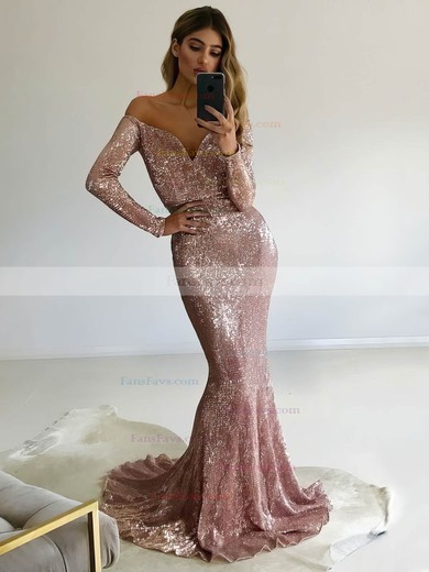 Trumpet/Mermaid Off-the-shoulder Sequined Sweep Train Prom Dresses #Favs020106204