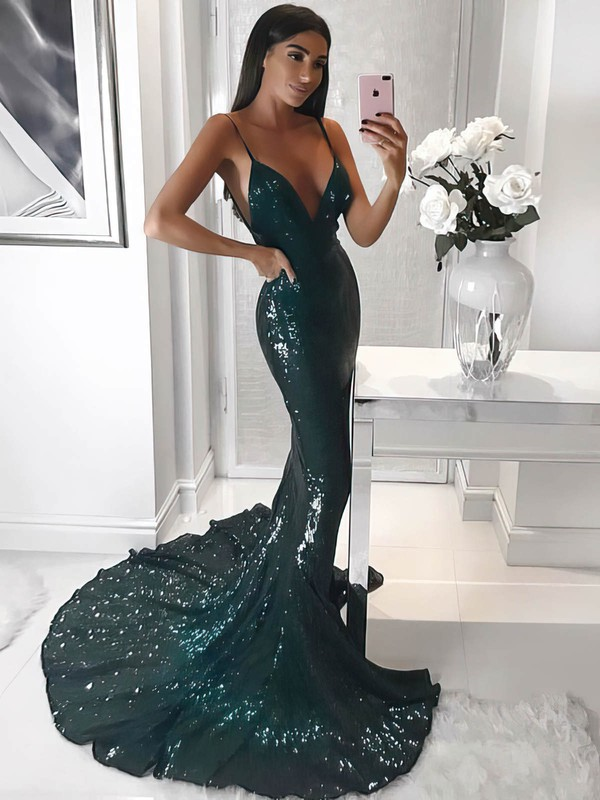 Trumpet/Mermaid V-neck Sequined Prom Dresses #Favs020106206