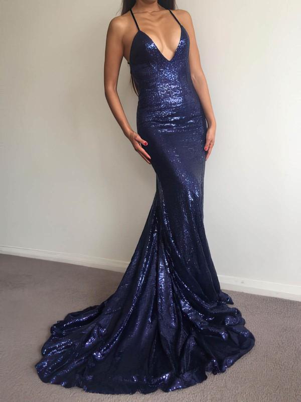 Trumpet/Mermaid V-neck Sequined Prom Dresses #Favs020106208