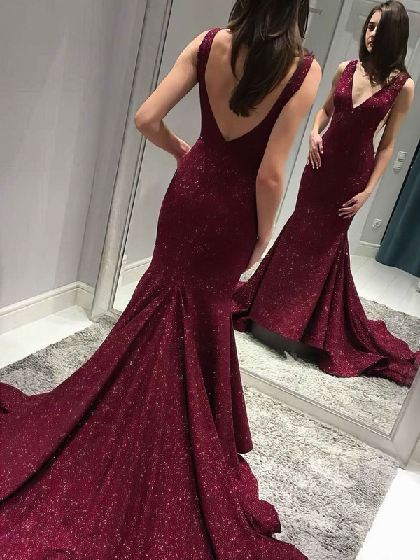 Trumpet/Mermaid V-neck Sequined Prom Dresses #Favs020106209