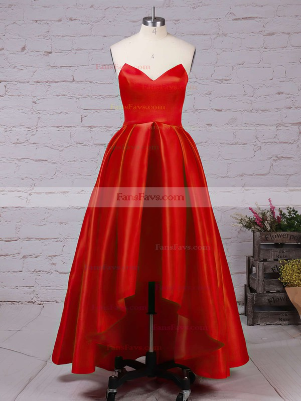 Princess Sweetheart Asymmetrical Satin Prom Dresses with Ruffle #Favs020102193