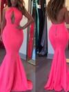 Trumpet/Mermaid Halter Jersey Floor-length Prom Dresses #Favs020106221