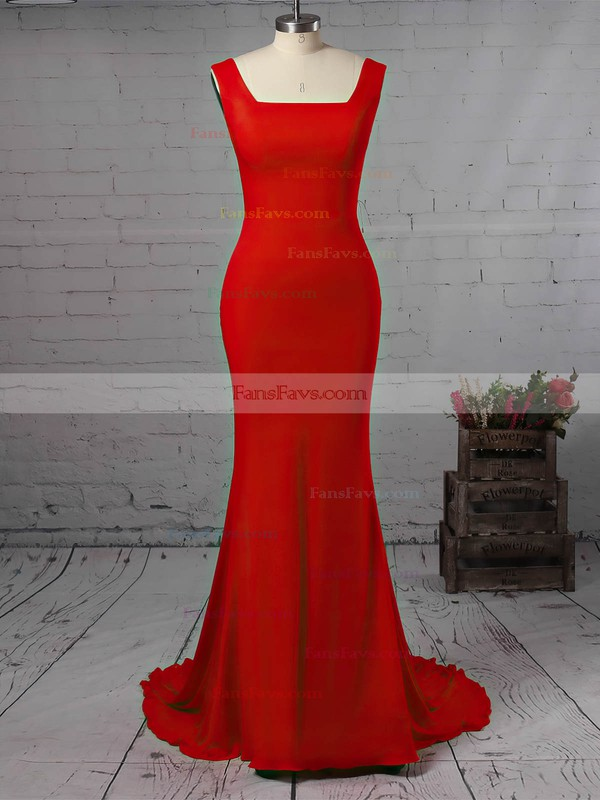 Trumpet/Mermaid Square Neckline Jersey Sweep Train Prom Dresses #Favs020106224