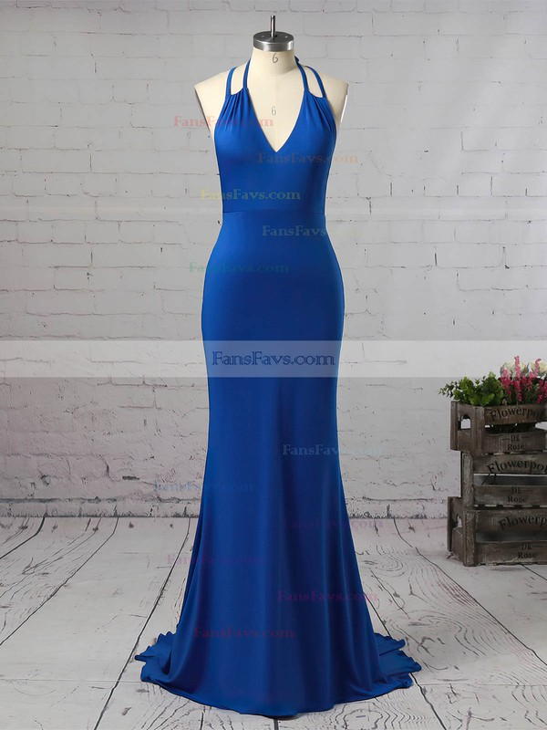 Trumpet/Mermaid V-neck Jersey Sweep Train Prom Dresses #Favs020106227