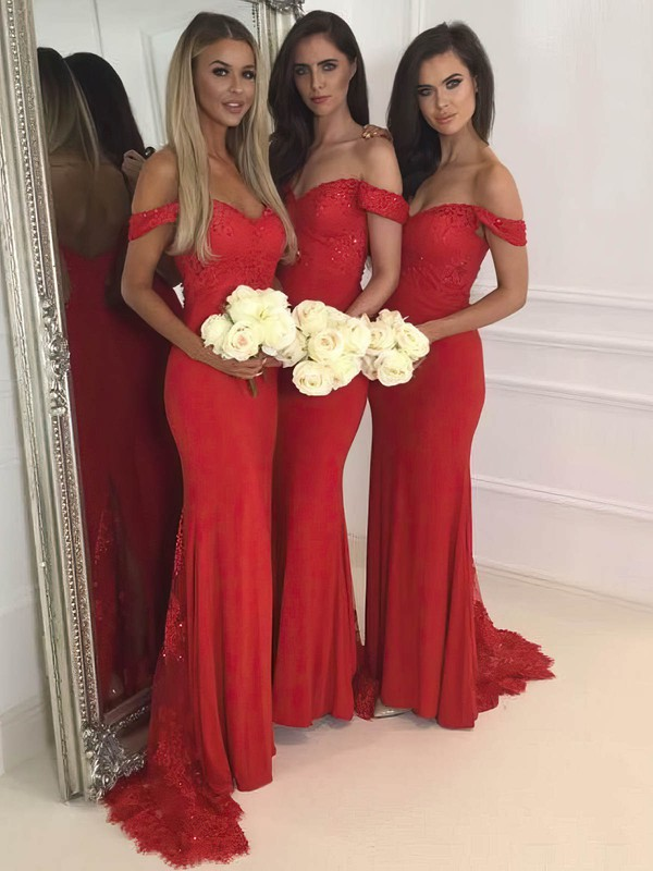 Sheath/Column Off-the-shoulder Jersey Sweep Train Appliques Lace Prom Dresses #Favs020106231