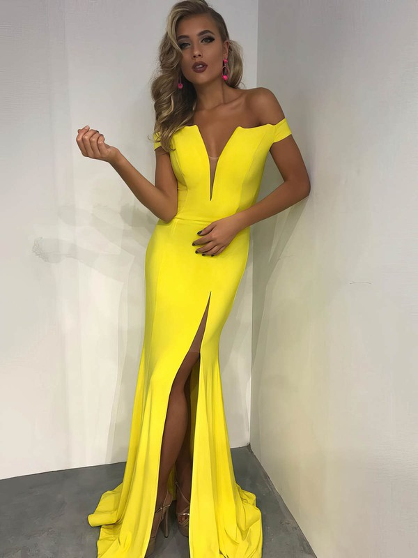 Trumpet/Mermaid Off-the-shoulder Jersey with Split Front Prom Dresses #Favs020106234