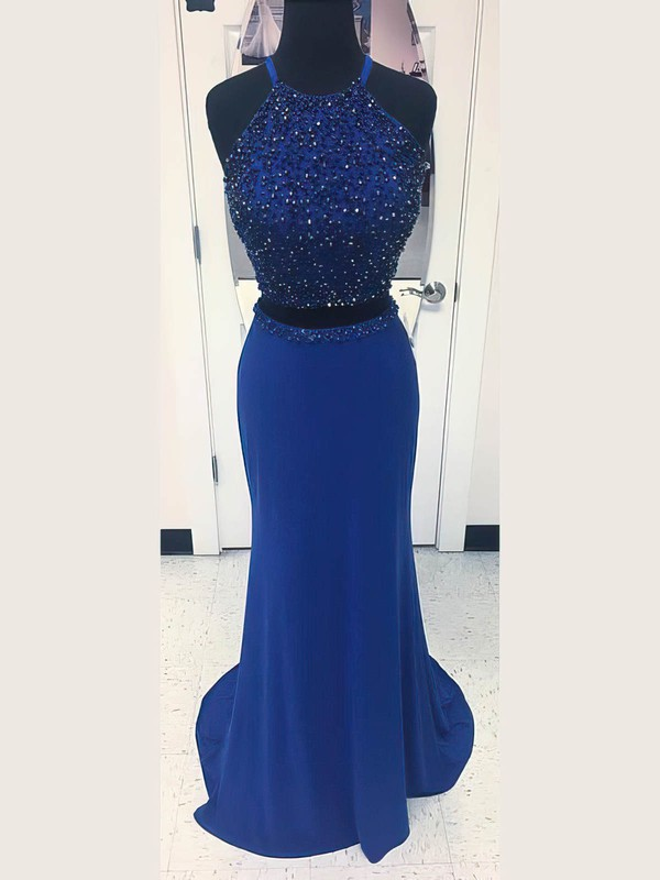 Sheath/Column Scoop Neck Jersey with Beading Prom Dresses #Favs020106237