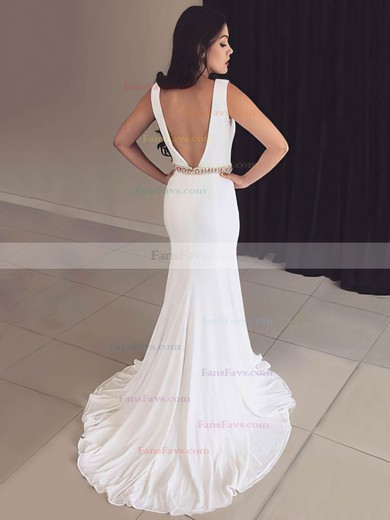 Trumpet/Mermaid V-neck Chiffon Sweep Train Sashes / Ribbons Prom Dresses #Favs020106239
