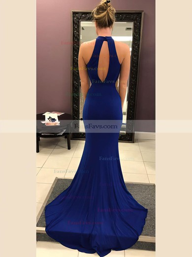 Trumpet/Mermaid High Neck Jersey Sweep Train Prom Dresses #Favs020106240