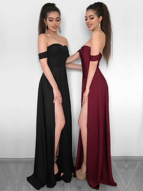 Sheath/Column Off-the-shoulder Jersey with Split Front Prom Dresses #Favs020106241