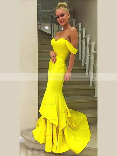 Trumpet/Mermaid Off-the-shoulder Jersey with Cascading Ruffles Prom Dresses #Favs020106242