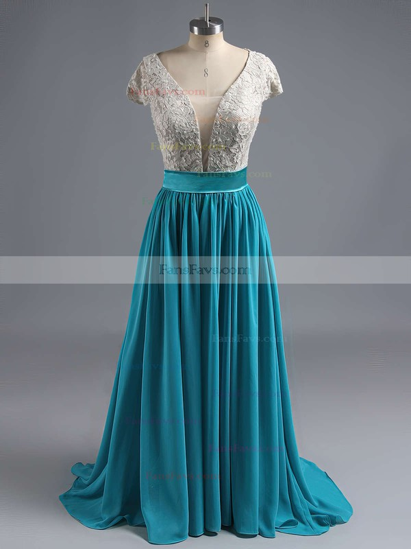 A-line V-neck Lace Chiffon Floor-length Sequins Prom Dresses #Favs020102209