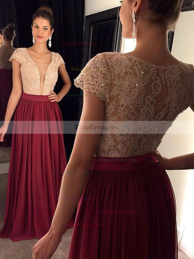 A-line V-neck Floor-length Lace Chiffon Prom Dresses #Favs020102209