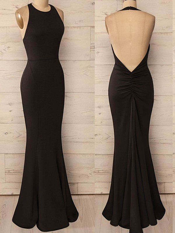 Trumpet/Mermaid Halter Jersey Floor-length Prom Dresses #Favs020106247