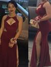 Sheath/Column Scoop Neck Jersey Floor-length Split Front Prom Dresses #Favs020106248