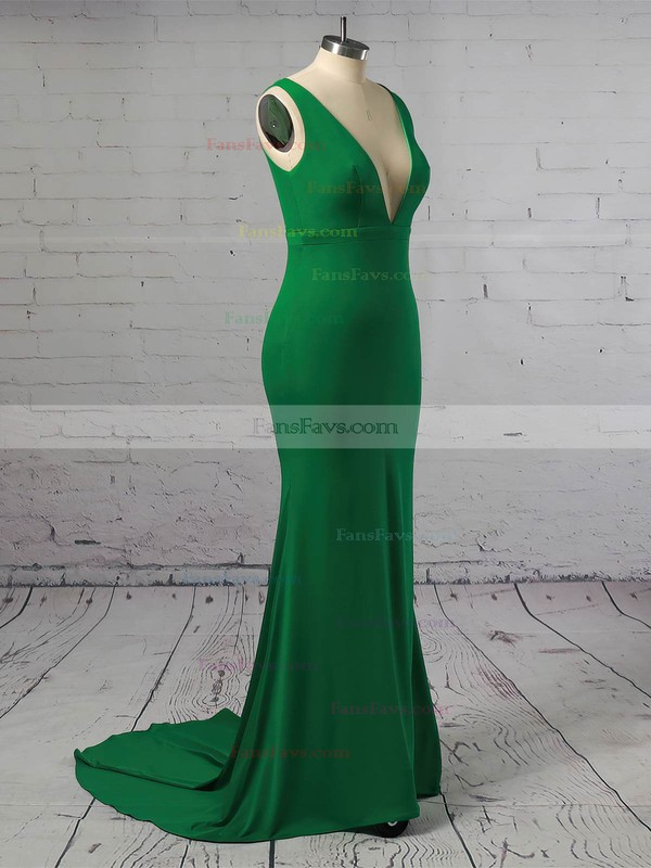 Trumpet/Mermaid V-neck Jersey Sweep Train Prom Dresses #Favs020106249