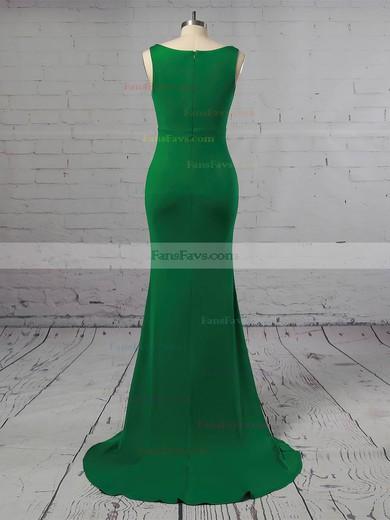 Trumpet/Mermaid V-neck Jersey Sweep Train Prom Dresses #Favs020106249