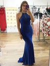 Sheath/Column Scoop Neck Jersey Sweep Train Beading Prom Dresses #Favs020106250