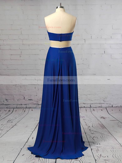 Sheath/Column Strapless Jersey Floor-length Split Front Prom Dresses #Favs020106257