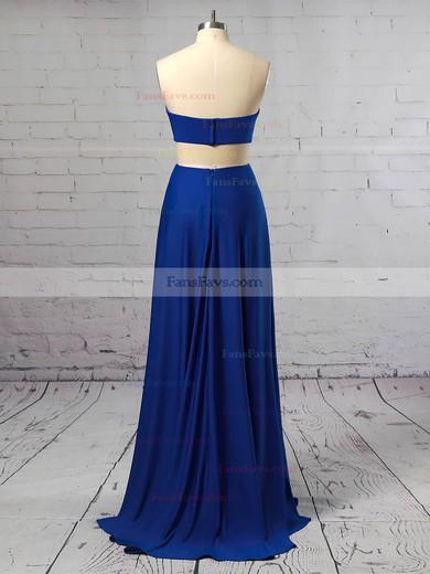 Sheath/Column Strapless Jersey Floor-length Split Front Prom Dresses #Favs020106257