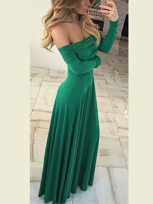 Sheath/Column Off-the-shoulder Jersey with Ruffles Prom Dresses #Favs020106260