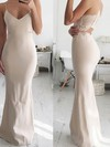 Sheath/Column V-neck Jersey Floor-length Lace Prom Dresses #Favs020106263