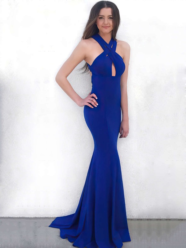 Trumpet/Mermaid V-neck Jersey Prom Dresses #Favs020106264