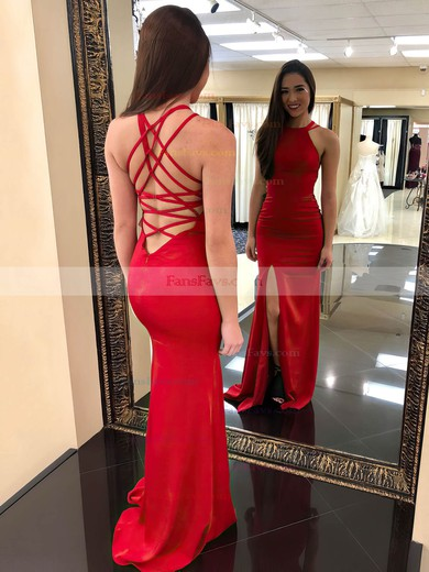 Sheath/Column Scoop Neck Stretch Crepe Floor-length Split Front Prom Dresses #Favs020106266