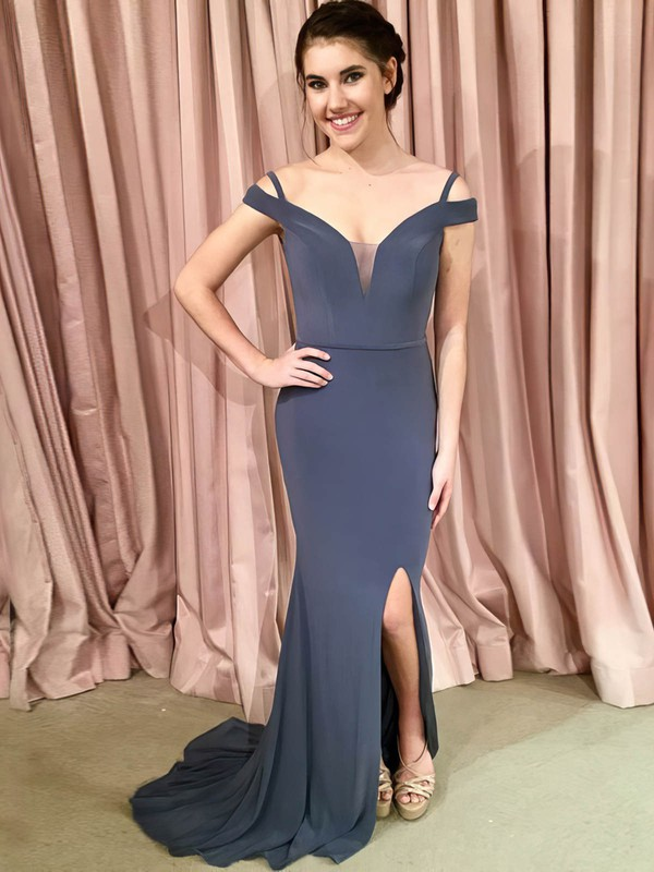 Trumpet/Mermaid Off-the-shoulder Jersey Sweep Train Sashes / Ribbons Prom Dresses #Favs020106269