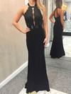 Sheath/Column Scoop Neck Jersey with Appliques Lace Prom Dresses #Favs020106270