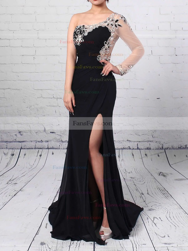 Sheath/Column One Shoulder Sweep Train Chiffon Tulle Prom Dresses with Split Front #Favs020102230